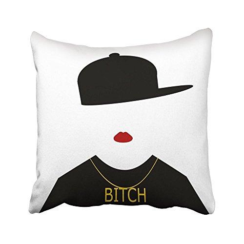 Moily Fayshow Throw Cushion Cover Accesorios Mujer con Gorra de béisbol hacia los Lados y Collar de Perra Hermosa Belleza Negro Dibujos Animados 50X50 Cm