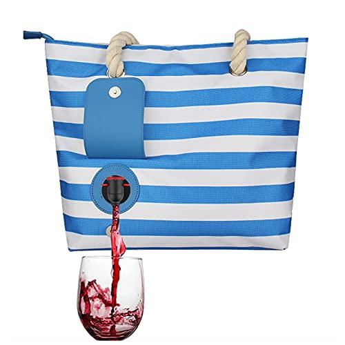 Bolsa de Picnic Mochila de Moda con Compartimento Aislado y Oculto, Tiene Capacidad para 2 Botellas de Vino para Regalo, Viaje de Picnic en la Playa,Blue