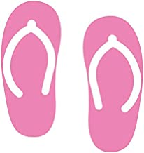Applicable Pun Flip Flop Summer Beach Walks Sandy Coast - Vinyl Decal for Outdoor Use on Cars, ATV, Boats, Windows and More - Light Pink 11 inch