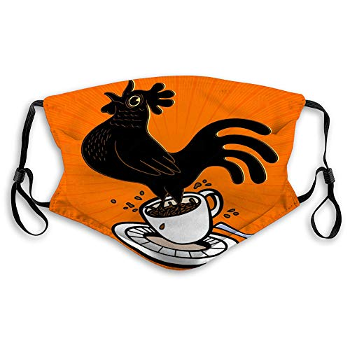 Adjustable Safety Masks for Most people energetic espresso cartoon rooster springing coffee cup singing cockcrow early bird wake up strong sunrise Printed Cover