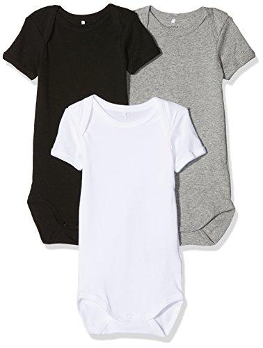 NAME IT Unisex Baby Körper Nbnbody 3P SS NOOS, 3er Pack, Mehrfarbig (schwarz,grau,weiß), 74
