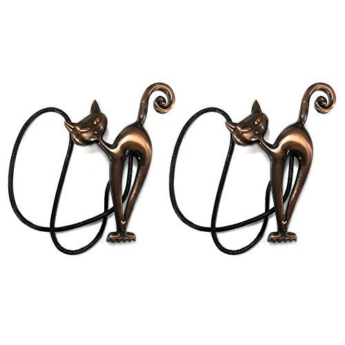 1 par / 2 alzapaños magnéticos para cortinas, diseño de gato de dibujos animados con hebillas, clips de cuerda, bandas de corbata para decoración del hogar y la oficina (rojo)