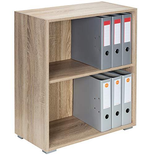 Deuba Mueble 'Vela' Roble Armario con 2 Puertas y 2 estantes versatil almacenaje sin Puertas Oficina Biblioteca salón