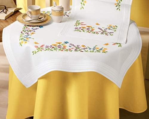 Vervaco Cross Stitch Tablecloth Kit Flowers 32 x 32 product image