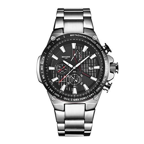 Reloj para Hombre Correa De Acero Inoxidable Reloj De Negocios Luminoso Completamente AutomáTico MecáNico Impermeable,B