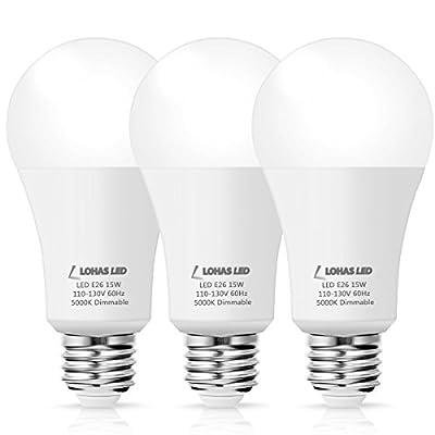 LOHAS A19 LED Bulb Dimmable, 100 Watt Incandescent Bulb Equivalent, 15W LED Lamp, E26 Medium Base, Crystal White 5000K, 1380 Lumens, 240 Degree Beam Angle, 120V LED Light Bulb, Home Lights, 3 Packs