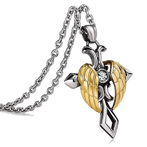 Adisaer Kette Silber Anhänger Silber Gold Kreuz Flügel Unisex Edelstahl