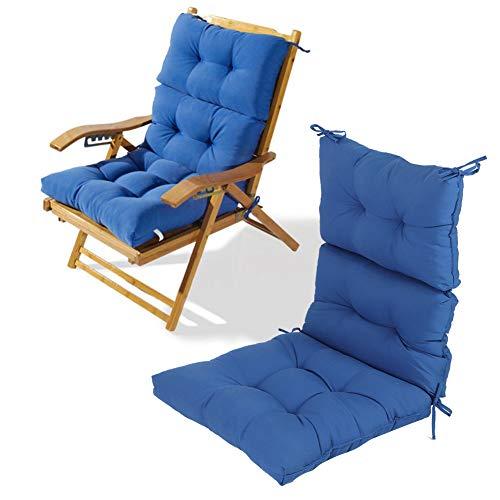 AYNEFY Cojín para silla, moderno, grueso, para exteriores, con respaldo, para jardín, balcón, patio, 52 x 52 x 7 cm, color azul
