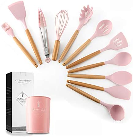 Silicone Cooking Utensil Set esonmus 11pcs Kitchen Utensil Set with Holder and Wooden Handle product image