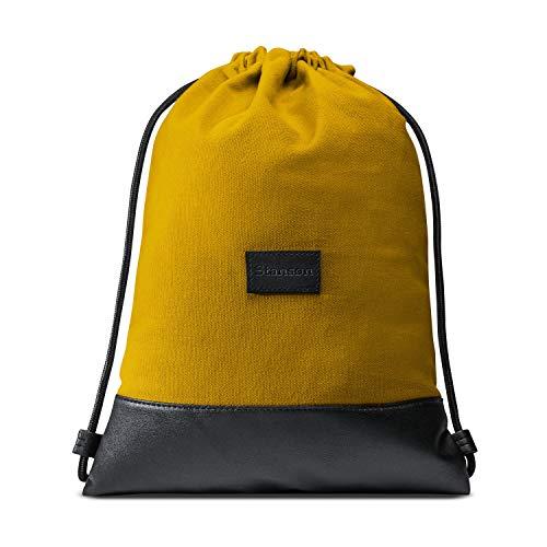 Stansøn ® Turnbeutel aus Canvas mit verschließbarer Innentasche | Daypack-Rucksack, Gym-Bag, Gymsack, Sportbeutel | Für Damen & Herren (Honig-Gelb)