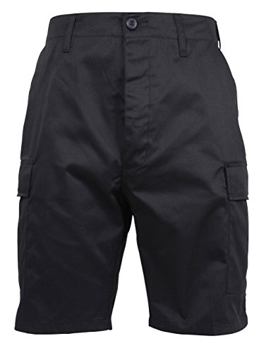 Rothco Men's Ultra Force Military Style BDU Combat Shorts, Black, Large Regular (Waist:35