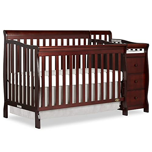 Dream On Me 5-in-1 Brody Convertible Crib with Changer in Espresso, Greenguard Gold Certified