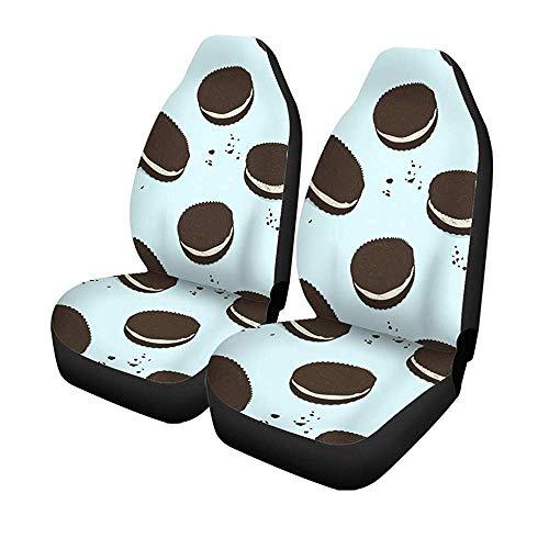 Beth-D Set met 2 stoelhoezen voor auto, chocolade, sandwich, koekjes, schattig motief, lekkere voering, cake, ontbijt, universeel, auto, voorstoelen, bescherming tegen voorstoelen, 14-17 inch