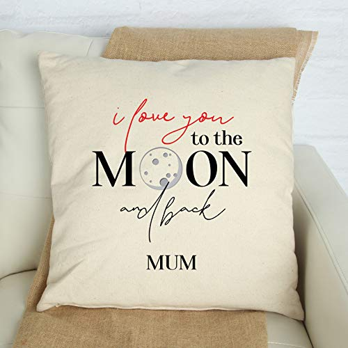 Tr73ans I love you to the moon and back mum Funda de cojín con corazón regalo para mamá personalizado regalo para mamá funda de almohada cuadrada
