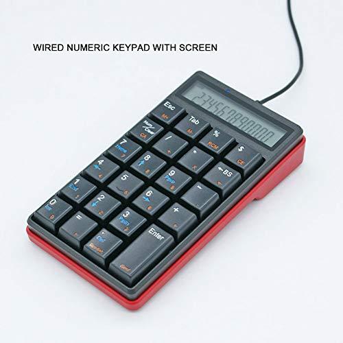WYSSS Kabelgebundene Zifferntastatur Einhandtastatur Numerische Tastatur mit 23-Tasten-Bildschirm Externe Tastatur mit Taschenrechner Hohe Kompatibilität mit Mehreren Betriebssystemen Tastatur