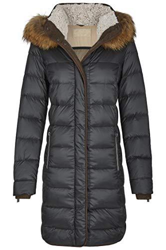 MILESTONE Damen Daunenmantel Steppmantel Winter Mantel Gesteppt Lila Bordeaux Navy Blau Olive Grün Schwarz Kapuze mit Echtfellbesatz Tailliert Gr. 36-48 (46, Anthrazit)