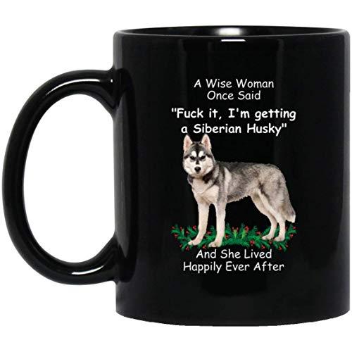 Divertida taza gris crema de husky siberiano para mujer una mujer sabia...