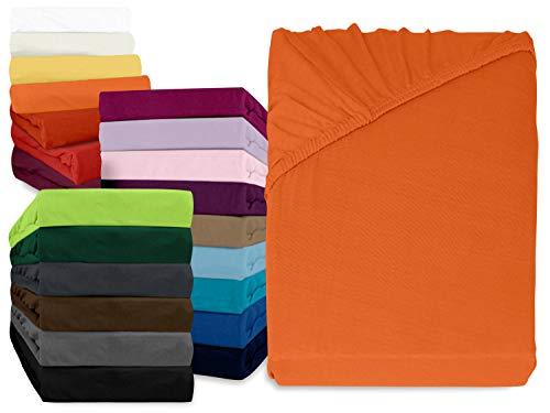 npluseins klassisches Jersey Spannbetttuch - erhältlich in 34 modernen Farben und 6 verschiedenen Größen - 100% Baumwolle, 180-200 x 200 cm, terrakotta