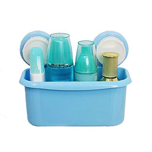 Salle de bain étagère Shampooing Rack Salle de douche Rackable Rack Cuisine Plastique Tenture murale Panier Taille: 10,5 cm * 19,5 cm * 15 cm (Couleur : Bleu)