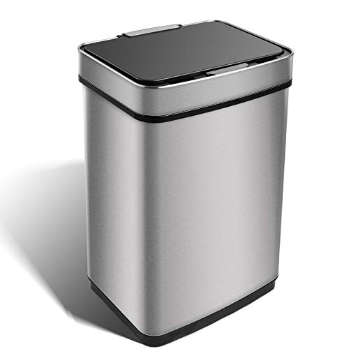 HEMBOR 13 Gallon Sensor Trash Can, Stainless Steel Rectangular Garbage Bin, Automatic Open and Closed Recycle Dustbin with Removable Inner Bucket for Kitchen Living Room Bathroom Bedroom Office