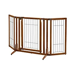 Gate stands at 32-inch high to accommodate large size dogs Side Panels adjust in increments of 10-degree to allow for more configurable options Gate door locks at the top and bottom for extra security Recommended for pets under 33 lbs