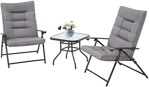 Skiway 3-Piece Patio Padded Folding Chair, Outdoor Adjustable Reclining Bistro Set with Glass Table for Porch, Deck, Balcony or Yard (Grey)
