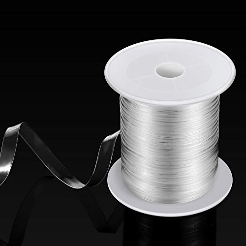 BBTO Clear Elastic Strap Lightweight Elastic Clear Bra Strap for Cloth Sewing Project (16 Yards x 0.12 Inch)