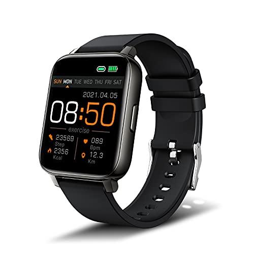 Smartwatch, Pantalla 1.69' Reloj inteligente, Reloj Deportivo para Hombre Mujer, Pulsera Actividad con Monitor de Sueño Pulsómetro Podómetro, Notificación Inteligente, Impermeable IP68, Negro
