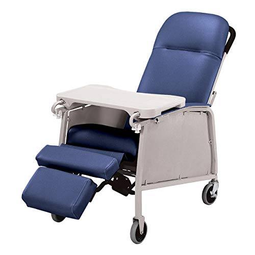 Graham-Field Lumex Three-Position Clinical Care Recliner with Swivel Casters, Royal Blue, 574G454