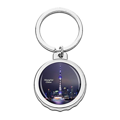Hqiyaols Keychain China Oriental Pearl Tower Shanghai Cap Flaschenöffner Schlüsselbund Creative Kristall Rostfreier Stahl Schlüsselbund Reisen Andenken