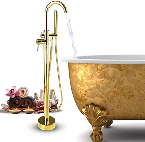BAOSHISHAN Standarmatur freistehende Wannenarmatur Bodenmontage Freistehendes Duschsystem Duscharmatur Badewannen Wasserhahn Duscharmatur 360°Drehauslauf mit Handbrause