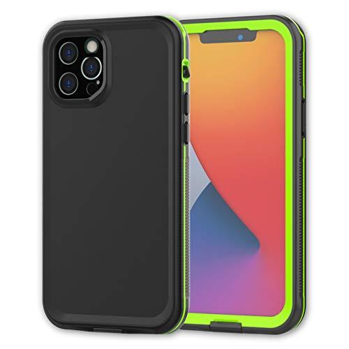 Funda para iPhone12 Mini/12/12 Pro/12 Pro MAX, IP68 Certificado Sumergible Carcasa, 360 Grados Protección [Antigolpes][Anti-rasguños] con Protector de Pantalla Incorporado.F-1,Black1,iPhone12Pro