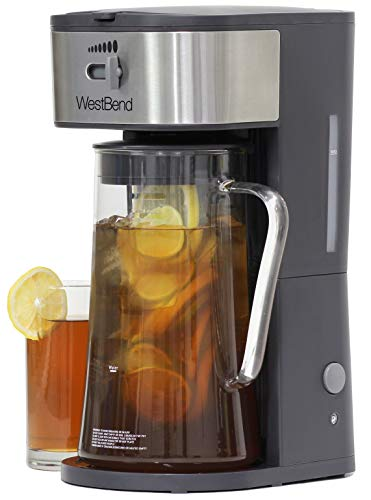 West Bend Fresh Iced Tea and Coffee Maker Includes an Infusion Tube to Customize the Flavor and Features Auto Shut-Off, 2.75 Quart, Black