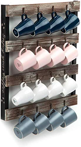 J JACKCUBE DESIGN Coffee Mug Holder Wall Mounted Rustic Wood Cup Organiser with 16-Hooks Hanging Rack for Home, Kitchen Display Storage and Collection : MK519A (Rustic Wood)