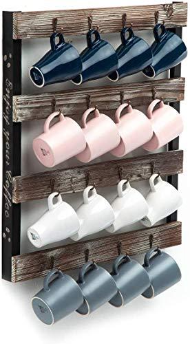 J JACKCUBE DESIGN Koffie Mok Houder Muur Gemonteerd Rustieke Hout Cup Organizer met 16-Haken Hangende Rek voor Thuis, Keuken Display Opslag en Collectie: MK519A Rustic Wood