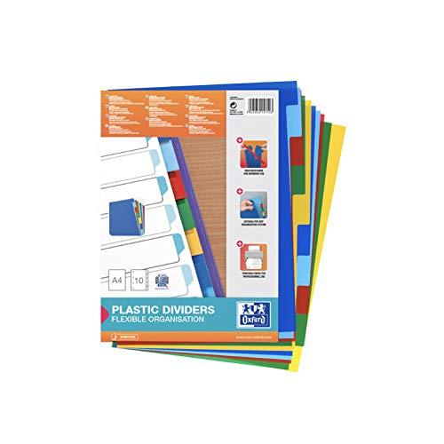 Separadores de plástico Oxford. 10 pestañas y 5 colores. A4 (100205063) ✅