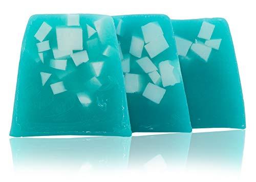 100% natürliche handgemachte Seife mit Algen, Kakaobutter, Avocadoöl, Traubenkernöl. Elixier der Jugend. Hände, Füße, Haare und Körper Seife Stück. 3x100 gr.