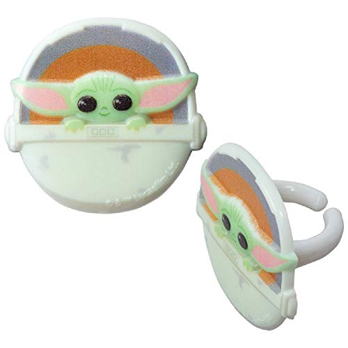 The Mandalorian Baby Yoda Star Wars Cupcake Toppers Rings Package of 18 from Blue Fox Baking
