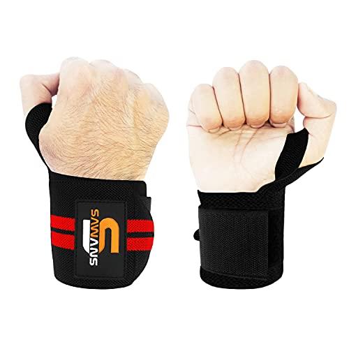 SAWANS Handgelenkbandagen für Gewichtheben, Unterstützung für Bodybuilding, Fitness, Fitnessstudio, für Männer und Frauen, Powerlifting, kräftiger, robuster Daumengriff, Rot