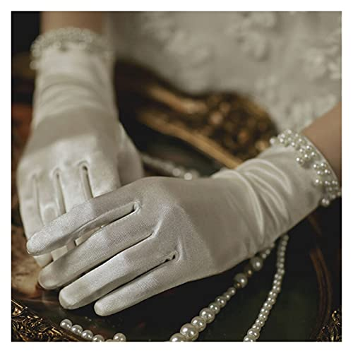 YUMYANJIN Bridal Gloves Summer Satin Gloves Thin Short Etiquette Dress Gloves Lady Elegant Pearl Lace Bow Mittens Women Party Photography Accessory Decorate (Color : Beige)