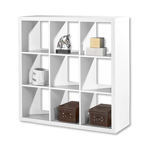 STYLE Modernes Würfelregal Weiß, ideal für Faltboxen - Praktisches Raumteiler Regal mit offenen Fächern - 112 x 112 x 38 cm (B/H/T)