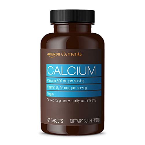 Amazon Elements Calcium plus Vitamin D, Calcium 500mg with D2 600IU, Vegan, 65 Tablets (2 month supply) (Packaging may vary), Supports Strong Bones and Immune Health