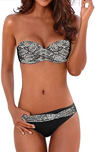 EUDOLAH Damen Bandeau Padded Bikini-Set Trägerlosen Badeanzug Push Up (Medium Z-Schlange)