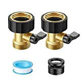 Snowpink Garden Hose Shut Off Valve, 2021 Upgrade Heavy Duty 3/4' GHT Brass Shut Off Valve, No Leaks Garden Water Hose Connector, 2 Pack with 4 Extra Washers and 1 Sealing Tape