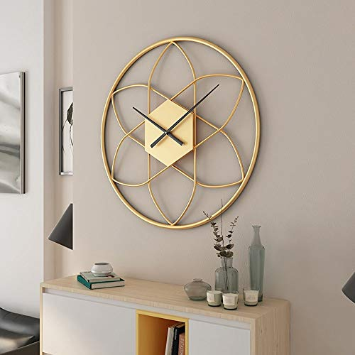 HY Oro Moderno Minimalista Hierro Mudo Decoración De La Pared del Reloj del Reloj De Pared Creativo De La Sala De Estar De Moda Nórdica Reloj De La Personalidad 50 * 50 (cm)