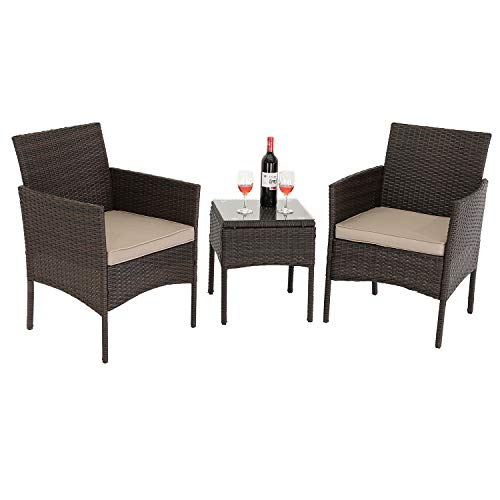 Furnimy 3 PCS Outdoor Furniture Patio Bistro Sets Rattan Wicker Conversation Sets, 2 Cushioned Chairs with 1 Glass Top Patio Table (Gray)