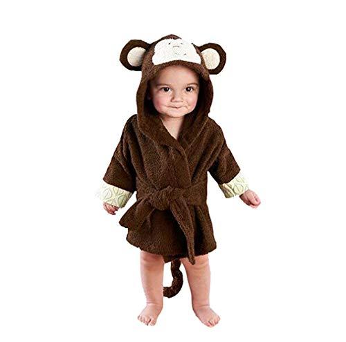 Casa Baby Kapuzenbademantel Nachthemd 3D Cartoon Tier Badetuch Umhang Ultra-Soft Fleece Pyjamas Kid Decke AFFE 110cm