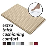 MICRODRY Extra-Thick, SoftLux, Charcoal Infused Memory Foam Bath Mat with GripTex Skid-Resistant Base, 17x24, Linen