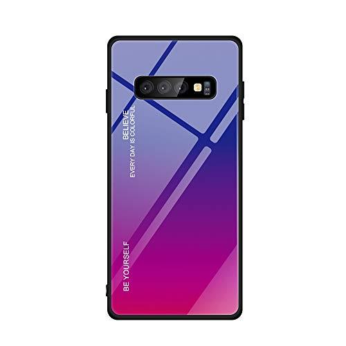 Alsoar - Funda compatible con Samsung Galaxy S10, carcasa completa del cuerpo, funda antigolpes de silicona ultrafina con carcasa trasera de cristal templado para Samsung Galaxy S10 Viola Rosso