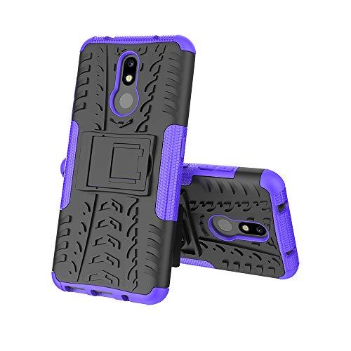 MRSTER Nokia 3.2 Hülle, Outdoor Hard Cover Heavy Duty Dual Layer Armor Hülle Stoßfest Schutzhülle mit Ständer Handyhülle für Nokia 3.2 (2019). Hyun Purple